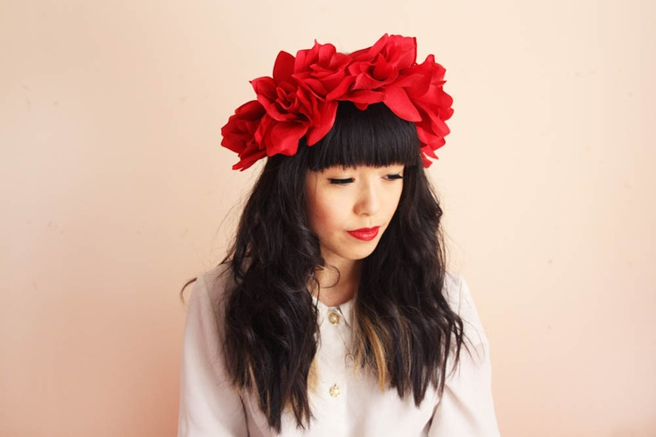 floral crown headband hair wreath - red, love, romantic statement headpiece, large flower crown, oversized.. $39.00, via Etsy.