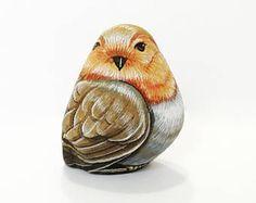 Piccolo uccello pietra pittura opere d'arte originali.