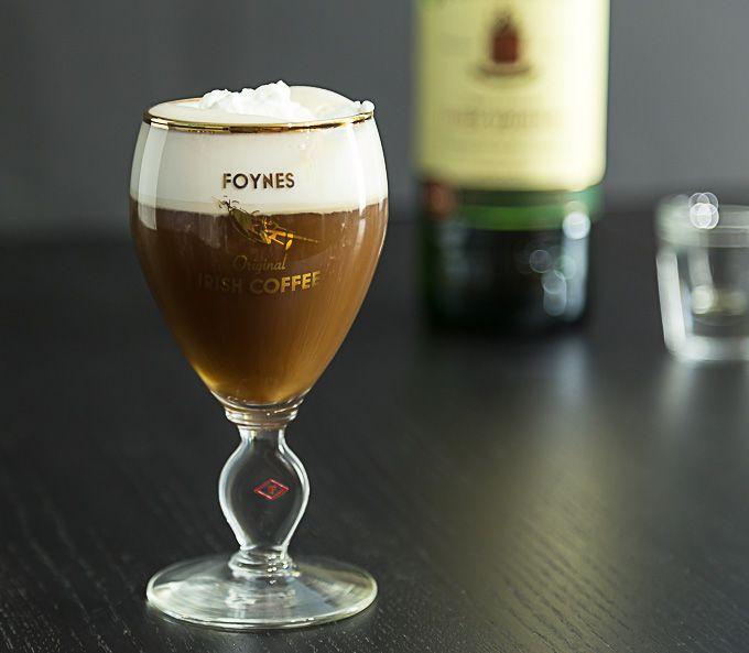 Irish coffee in the original recipe glass from Foynes, Ireland. Plus the history of the drink. |ethnicspoon.com