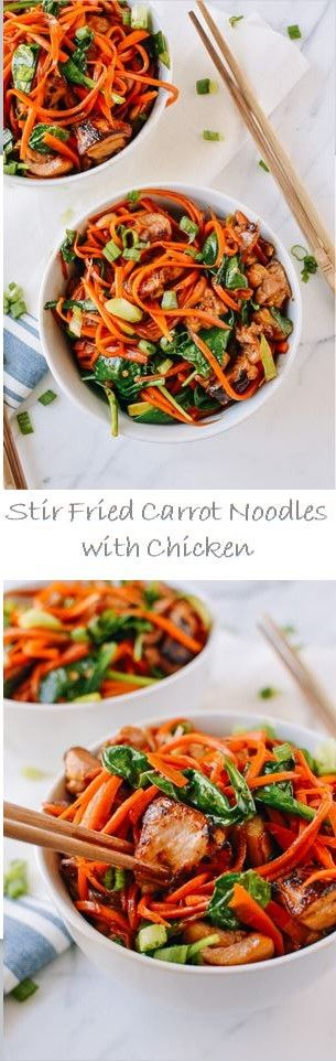 Stir fried Carrot Noodles with Chicken