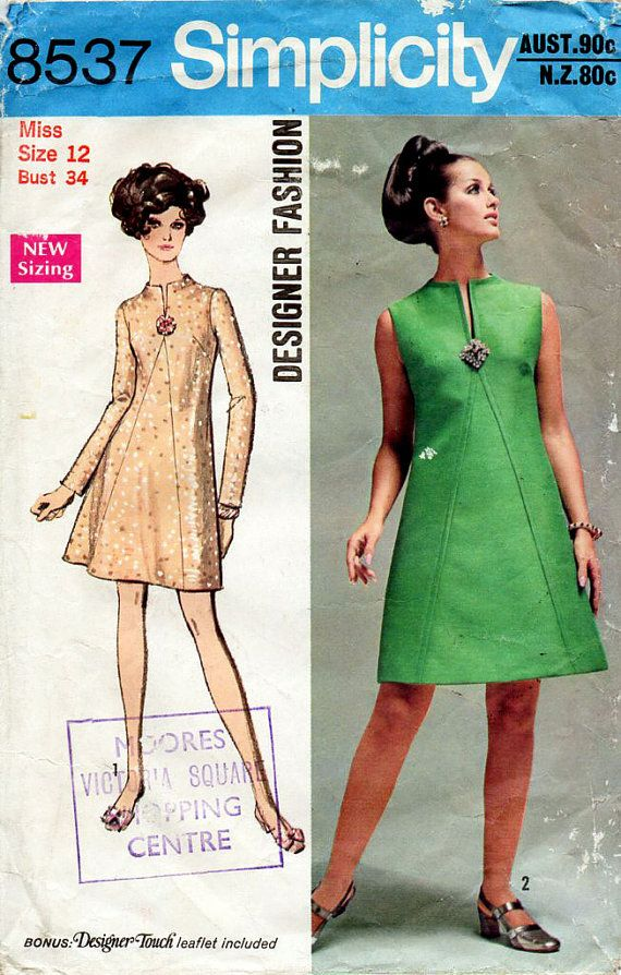 1960s Mod A Line Evening Dress Vintage Sewing by BessieAndMaive, $9.00