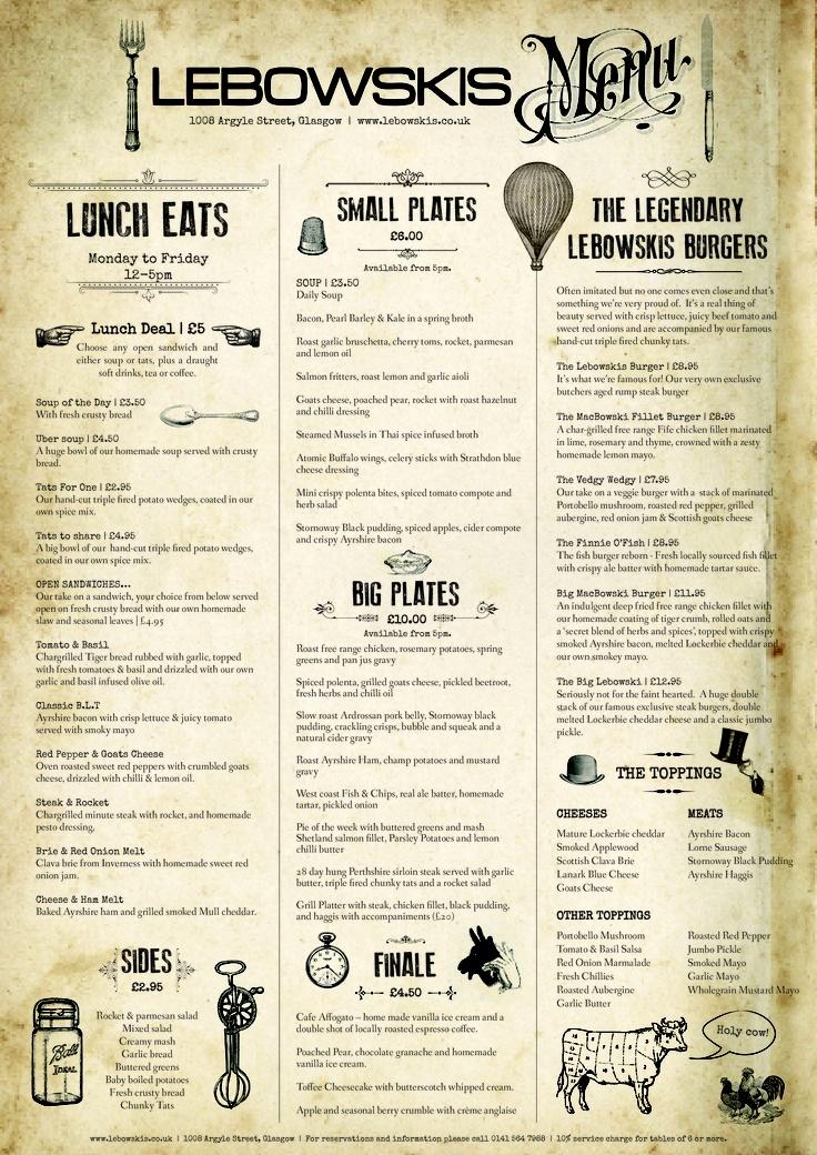 A3 menu designed for Glasgow bar Lebowskis Graphics: @Karen - The Graphics Fairy #vintage #food #design