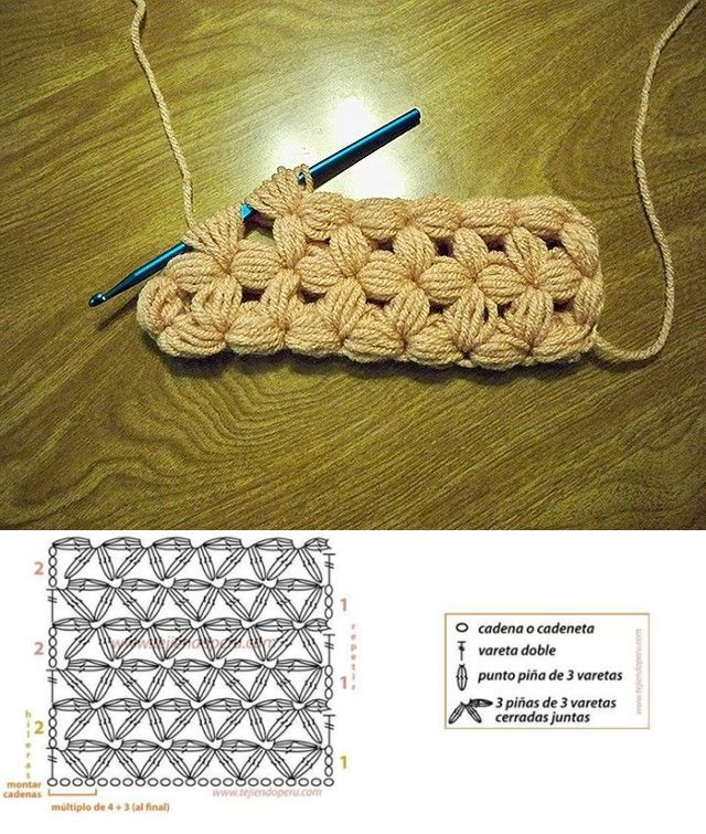 Puffy New Crochet stitch to try with symbol chart and instructions