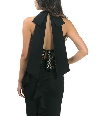 Look what I found on #zulily! Black Lace-Accent Open-Back Layered Sleeveless Top #zulilyfinds