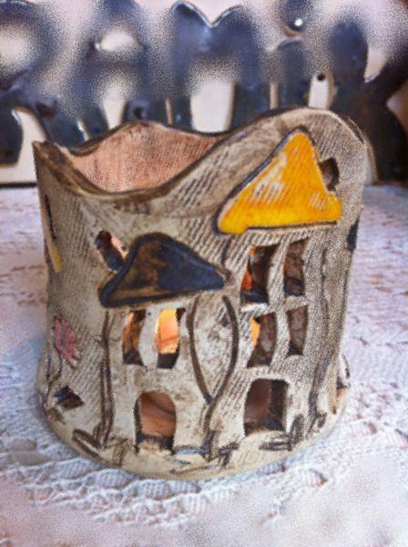 Keramik Winlicht schiefe Häuser von Keramik-Biene auf DaWanda.com