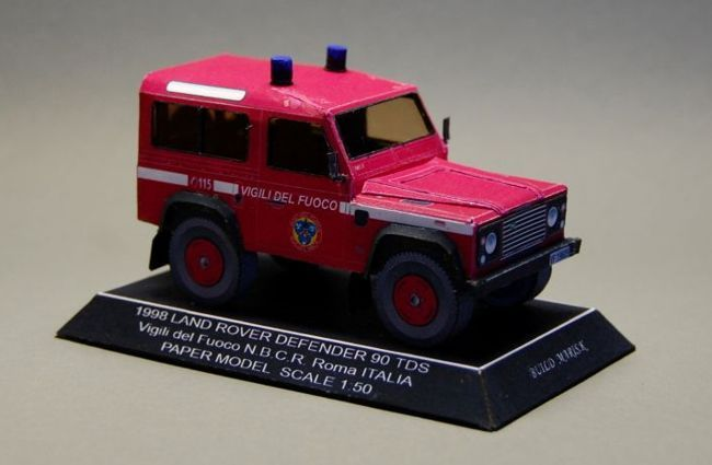 Rome Fire Department 1998 Land Rover Defender 90 Free Vehicle Paper Model Download - http://www.papercraftsquare.com/rome-fire-department-1998-land-rover-defender-90-free-vehicle-paper-model-download.html#135, #Defender, #Defender90, #LandRover, #LandRoverDefender, #LandRoverDefender90, #SUV