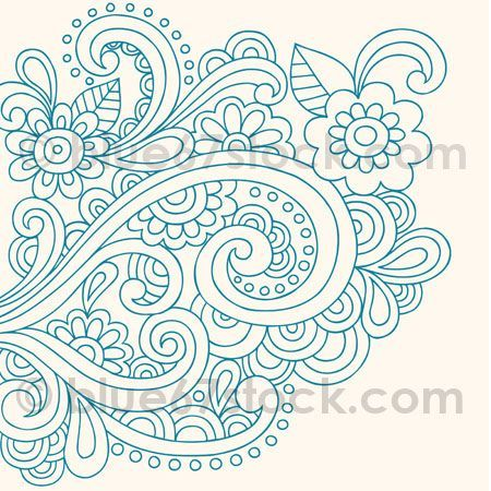 Hand-Drawn Psychedelic Paisley Henna Tattoo Doodle with ...