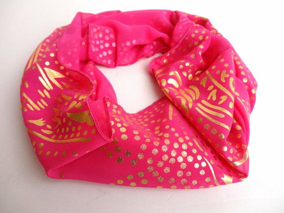 spring scarves fushia pink infinity scarf gold by scarfstrends, $12.90