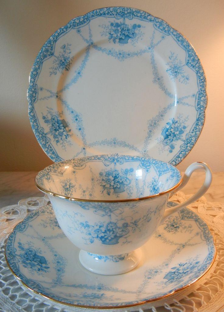 "Foley Wileman Tea Cup Saucer Plate Trio ""Basket of Flowers"" 368024 C 1901 Pre Shelley"