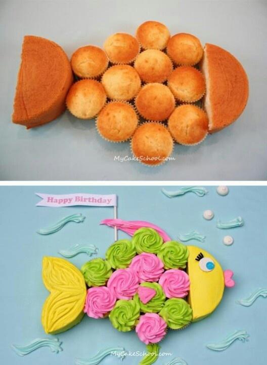 "Fish cupcake cake. This is fun for ""MY"" Birthday cake! Lol"