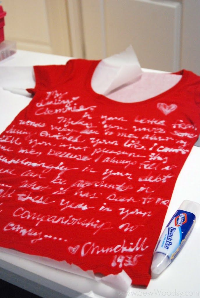 Love letter on a shirt.Pens Art, Altered Clothing, New Life, Old Shirts, Bleach Pens Shirts, Pens Pals, Crafts Diy, T Shirts, Bedrooms Ideas