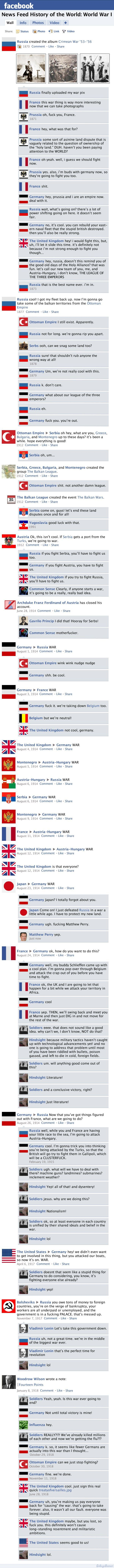 """Facebook News Feed History of the World: World War I to World War II"" by Susanna Wolff - CollegeHumor Article - Part 1"