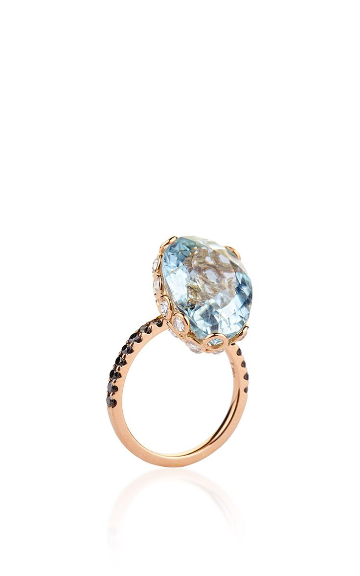 One of a Kind 18K Rose Gold Ring with Aquamarine - Lito Resort 2016 - Preorder now on Moda Operandi