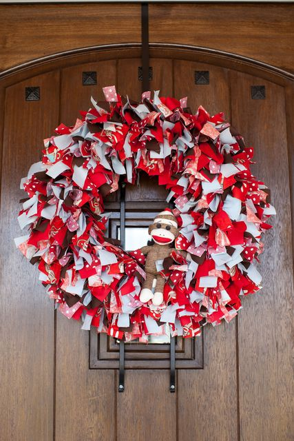 Wreath at a Sock Monkey Party #sockmonkey #partywreath