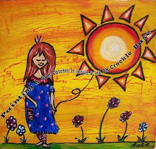 A Pretty Talent Blog: Painting A Darling Sun Catcher In Acrylic & Ink On A Crackle Medium Base