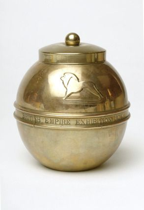 Brass tea caddy, Liptons, 1924