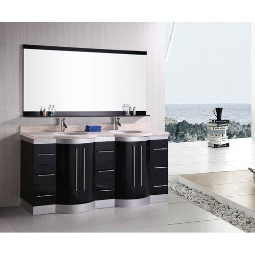 Design Element Jasper Dark Espresso 72 Inch Double Sink Vanity Set With  Travertine Stone Countertop