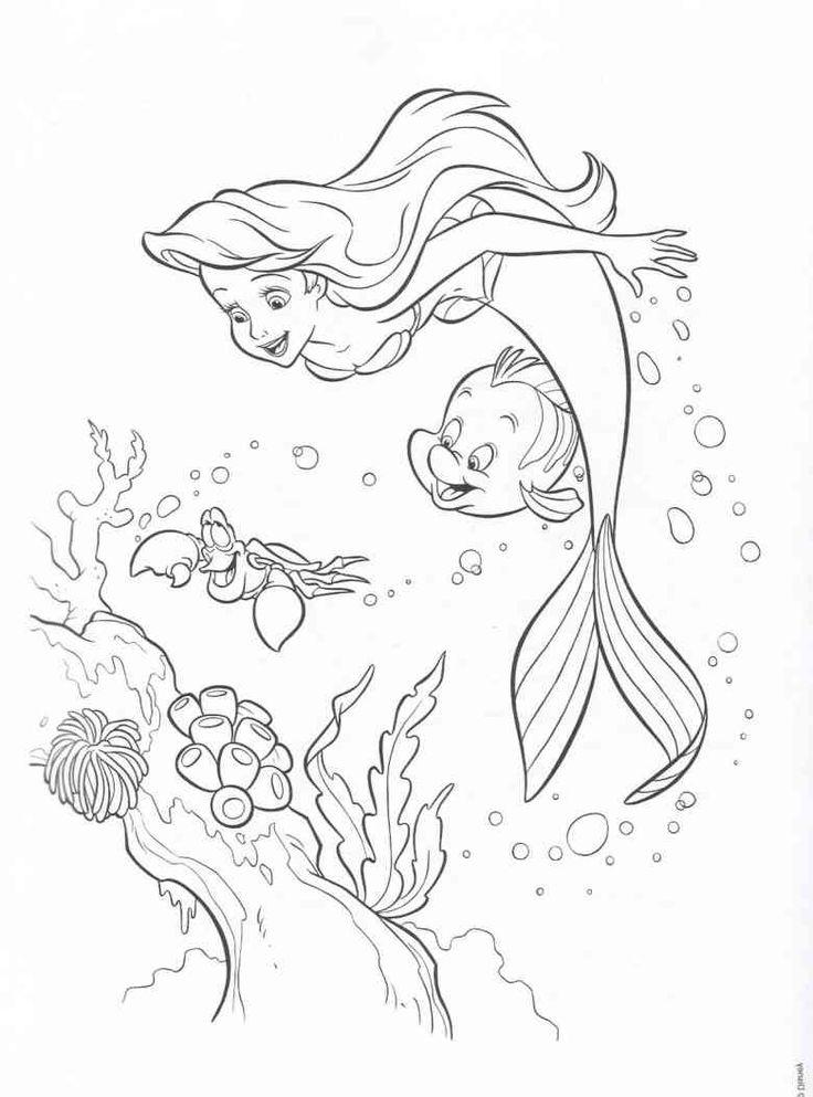 Coloring Book Disney : 39 best coloring pics little mermaids images on pinterest