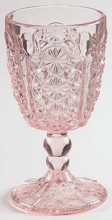 L G Wright Daisy & Button-Pink Water Goblet