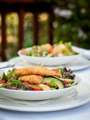 gingko parmesan chicken & avo salad