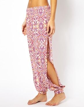 All About Eve Boho Print Beach Trousers With Side Slits