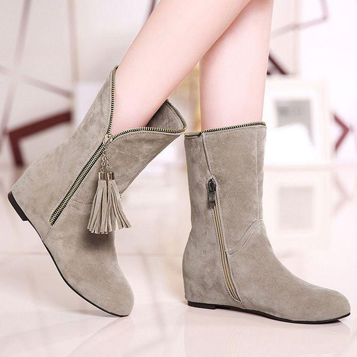 Women Fashion Mid Calf Boots Shoes Autumn Flat Booties Side Tassle Zipper