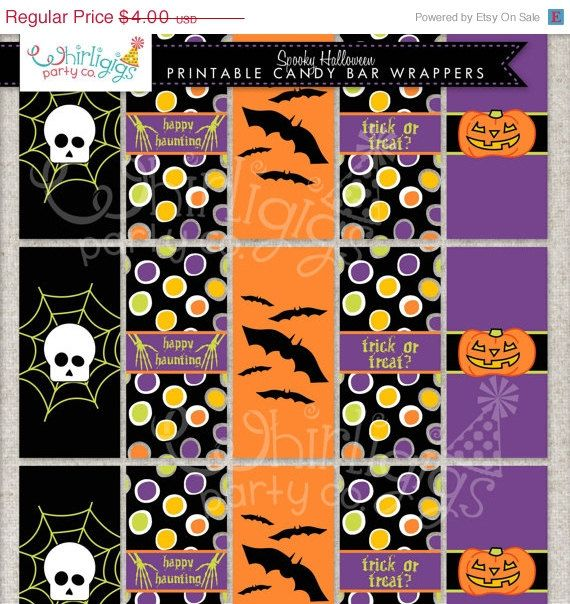 Mini Candy Bar Wrappers Printable Pdf File For A Halloween Party