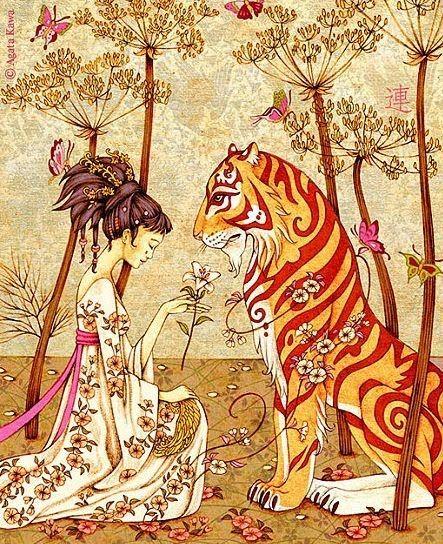 """Tigre le Dévoué"", ilustrado por la artista francesa Agata Kawa y editado por HongFei."
