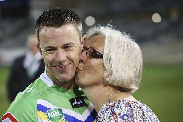 2013 Round 26 Canberra Raiders V Sharks: Sam Williams of the Raiders gets a kiss from his mum Trish after his final Raiders game.
