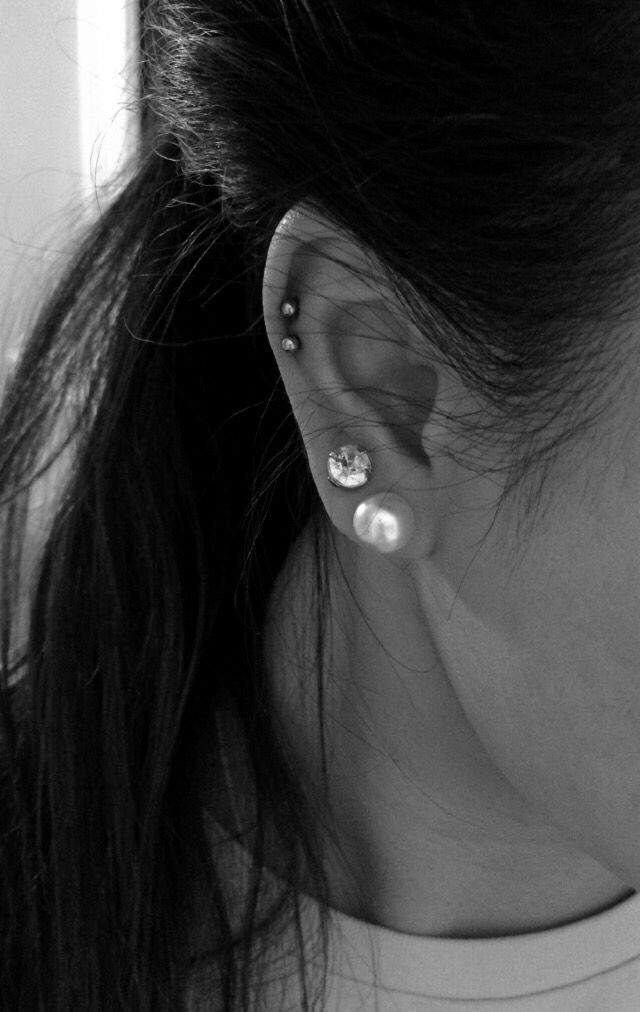double cartilage with first and second lobe holes