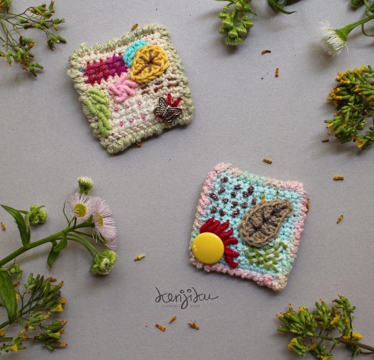 KENJIKU crocheted goods: spring crochet brooches