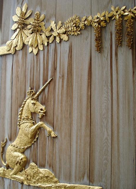 Golden Unicorn door detail,   The Palace of Holyroodhouse, Edinburgh, Scotland. December 2007.