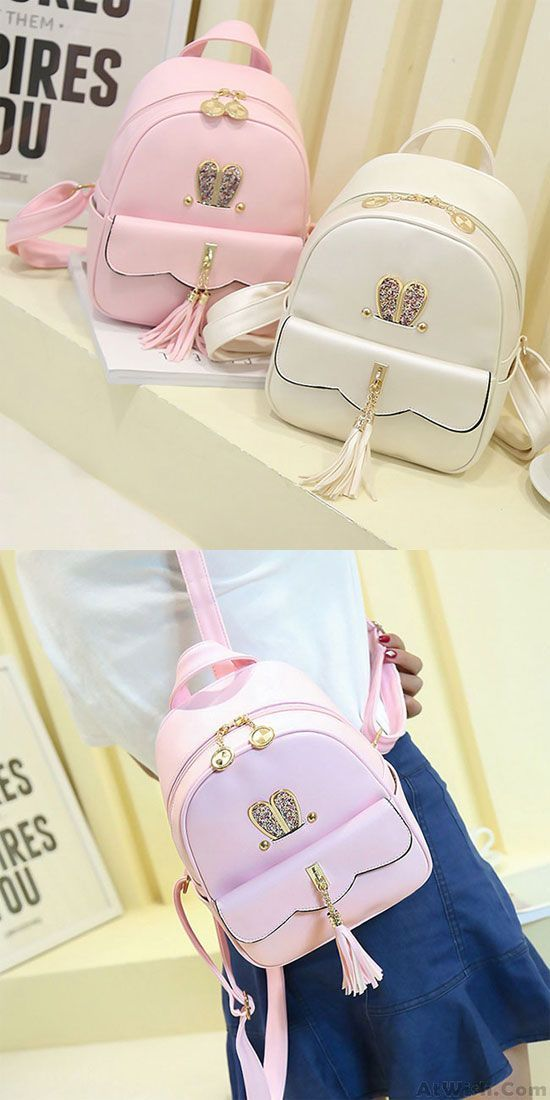 04c37e14c532 Leisure Lotus Leaf School Backpack PU Girls Tassels Pink Rabbit Ear ...