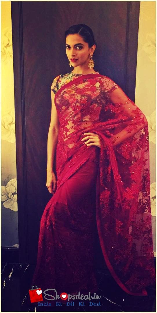 #Classic #Gorgeous #Deepika Padukone in #red #flowery #saree > shopsdeal.in
