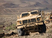 The Oshkosh MRAP (mine-resistant ambush-protected) all-terrain vehicle (M-ATV) is an armoured vehicle with improved mobi