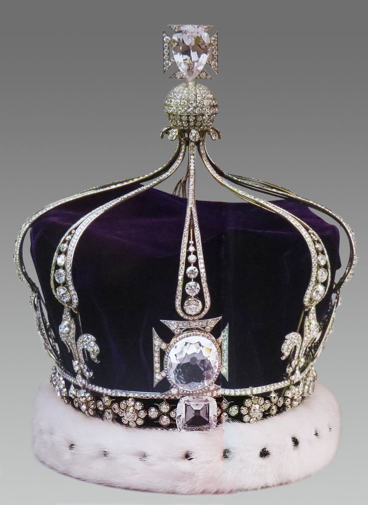 THE 1911 CORONATION CROWN OF QUEEN-EMPRESS MARY, consort to King George V of the United Kingdom & Emperor of India. Originally set, in the front cross pattée with the KOH-I-NUR DIAMOND, it is now set with a crystal replica stone. This continental-style of double arches, not an English practice, was introduced for Queen Alexandra's 1902 consort coronation. The arches are detachable; thus, she wore the circlet for the coronation of her son, George VI.