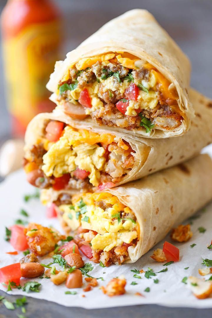Freezer Breakfast Burritos - Meal prep over the weekend for the best burritos during the week. Loaded with tater tots, eggs, beans and cheese