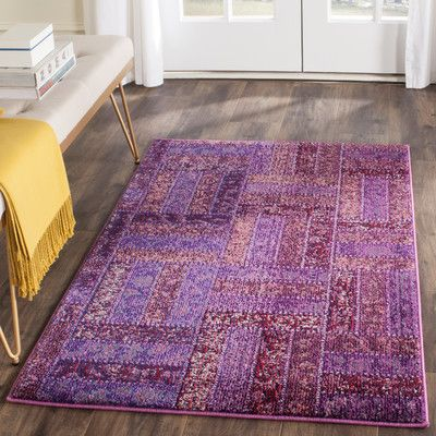 "Bungalow Rose Purple Area Rug Rug Size: 4' x 5'7"""