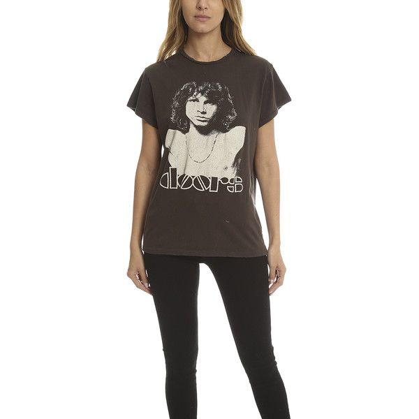 MadeWorn Rock MadeWorn The Doors Jim Morrison Tee ($160) ❤ liked on Polyvore featuring tops, t-shirts, women, vintage cotton t shirts, destroyed t shirt, cotton t shirts, vintage tops and destruction t shirt