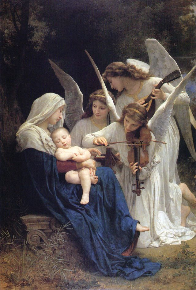 ❦ Virgin of the Angels (1881). Adolphe-William Bouguereau (French, 1825–1905). Oil on canvas. Getty Center. This life-size painting, a serene vision of angels serenading the sleeping Jesus in the arms of a graceful young Mary, is one of the most important works by Bouguereau in the US. Chief paintings conservator Mark Leonard spent months studying, cleaning, and restoring.