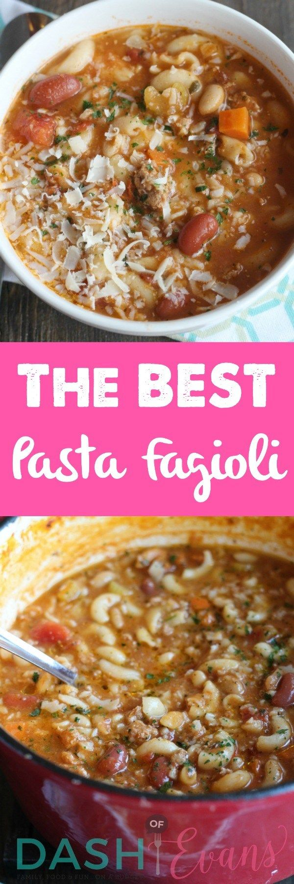 Pasta Fagioli using Randall Mixed Beans. SO hearty and delish! via @DashOfEvans