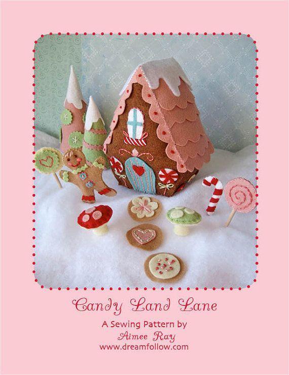 candy landCandies Land, Christmas Village, Felt Christmas, Felt Crafts, Felt Pattern, Felt Gingerbread, Candyland, Gingerbread Houses, Land Lane