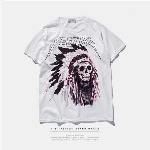 Casual Tops Yeezus Men's T-shirt Skull Religious Style