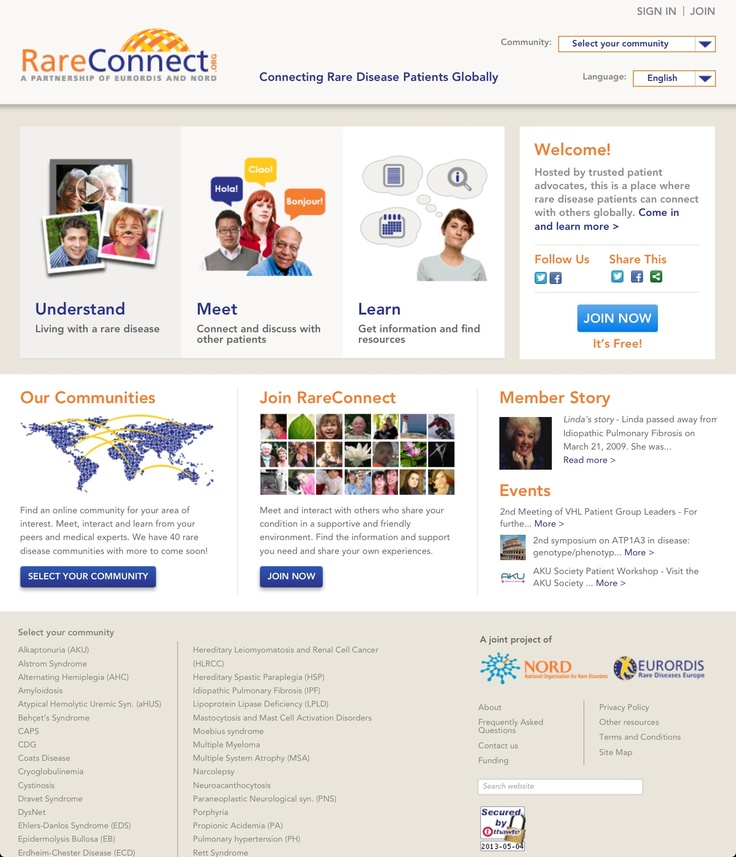 ONLINE GLOBAL PATIENT RARE NETWORK - RareConnect welcomes its 40th community |  RareConnect.org, the successful, growing online network for rare disease communities, brings together thousands of patients, families, and groups who might otherwise be isolated. #mHealth #OnlineHealth #PatientSupport
