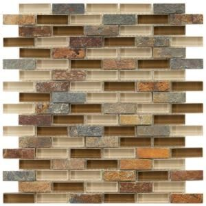 $13.75 Merola Tile Tessera Subway Brixton 12 in. x 11-3/4 in. Stone & Glass Mosaic Wall Tile-GDMTSWB at The Home Depot