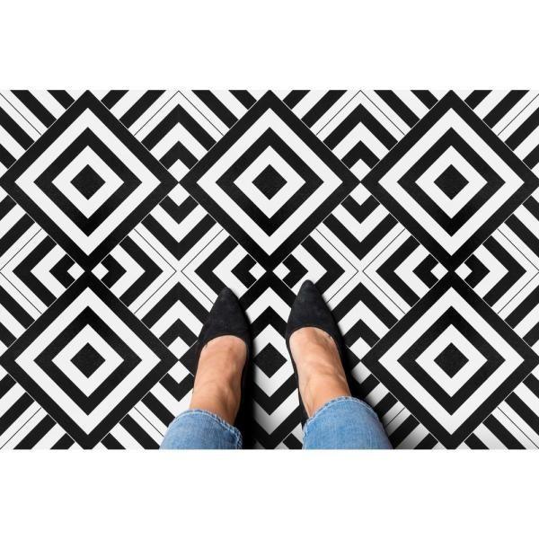 Achim Retro Geometric 12 In X 12 In Self Adhesive Vinyl Floor Tile 20 Tiles 20 Sq Ft Rtftv60420 The Home Depot Vinyl Tile Retro Tiles Peel And Stick Vinyl