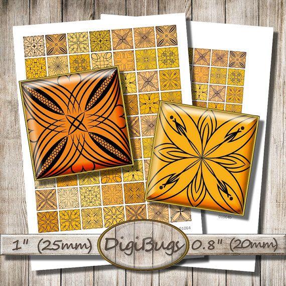"Digital Collage Sheet, Autumn Color Squares, 0.8"" , 1"" Squares, Black and Orange, Printable Ornaments, Magnet Images, Instant Download, c2"