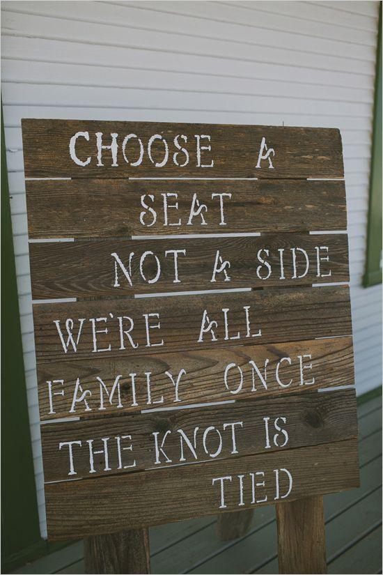 rustic sit anywhere sign | wedding ceremony signage | boho wedding ideas | #weddingchicks