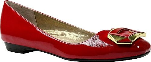 J. Renee Shoes - Pair the tailored yet modern Tustin crinkle patent flat with your A-line work-to-flirty dress style or with classic slacks. Synthetic upper adorned with fresh gorgeous ornament buckle. - #j.reneeshoes #redshoes