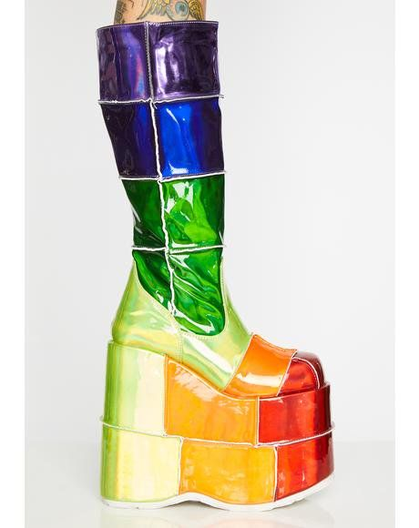 8a453517d7d Way Up High Rainbow Stack Platforms  dollskill  rainbowserpent  rave   festival  rainbow  rainbow  stacked  platforms  demonia
